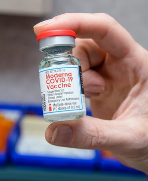 Moderna COVID-19 vaccine at the Indian Family Health Clinic in Great Falls pictured in January. To schedule a first dose of the vaccine, go to https://www.vaccines.gov/.