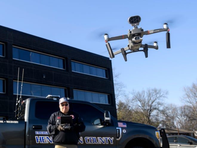 Kenny Garrett, Director of the Henderson County Emergency Management Agency, demonstrates how to use the department's drone camera, a DJI Mavic 2 Enterprise Dual, in Henderson, Ky., Tuesday afternoon, Jan. 12, 2021.  The drone can hold several accessories such as a loudspeaker to project audio from the drone and a spotlight to aid in low light use.