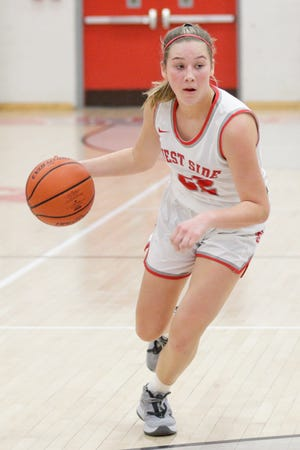 West Lafayette's Kennedy Martin (22) dribbles during the third quarter of an IHSAA girls basketball game, Tuesday, Jan. 12, 2021 in West Lafayette.