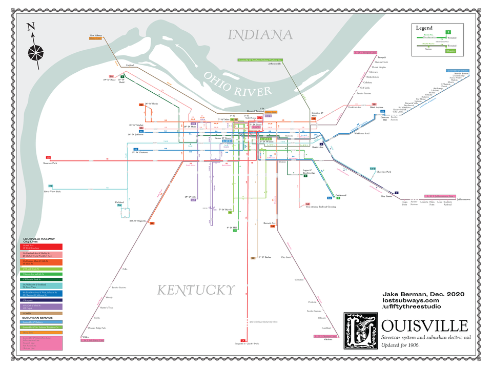 Jake Berman's map of Louisville streetcar system and suburban electric rail in 1906.