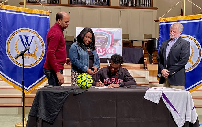 William Bell, a senior at Westminster Academy, signed a scholarship to continue his soccer career at the University of Indianapolis on Wednesday, Jan. 13, 2021.