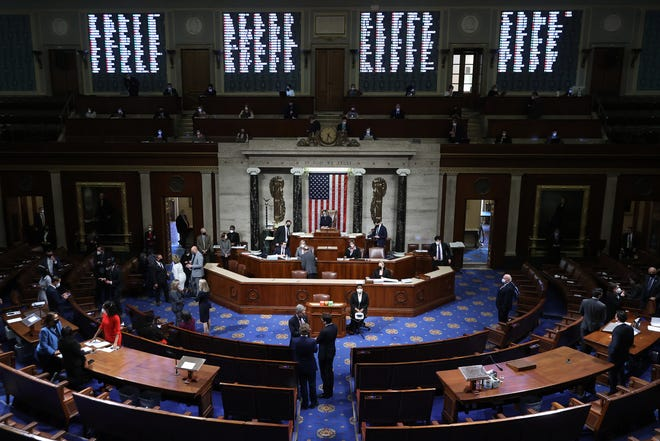 Speaker of the House Nancy Pelosi (D-CA) presides over the vote to impeach U.S. President Donald Trump for the second time in little over a year in the House Chamber of the U.S. Capitol January 13, 2021 in Washington, DC.