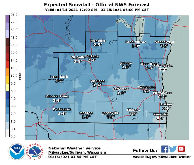 More snow is on the way for southern Wisconsin on Thursday into Friday, according to the National Weather Service. The highest snowfall totals will be north and west of Milwaukee.