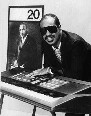 Singer-song-writer Stevie Wonder shown Jan. 3, 1986, was executive producer, host and a performer for An All-Star Celebration Honoring Martin Luther King Jr., telecast on Monday, Jan. 20, 1986.