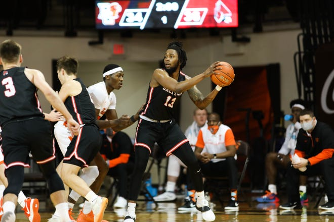 Ball State's Kani Acree competes for the Cardinals as they face Bowling Green on Jan. 12, 2021.