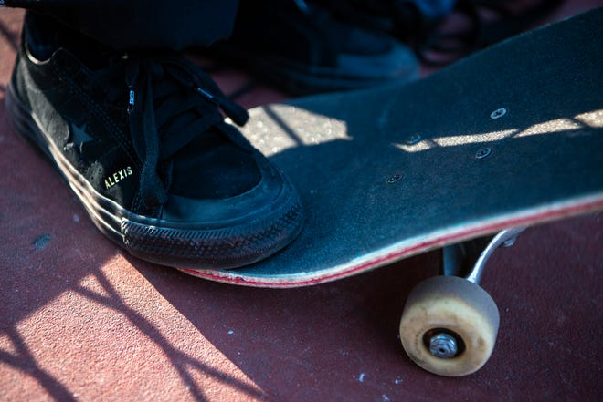 """A young skateboarder wears a pair of Converse One Star Pro Skate Shoes """"Alexis Sablone,"""" style."""