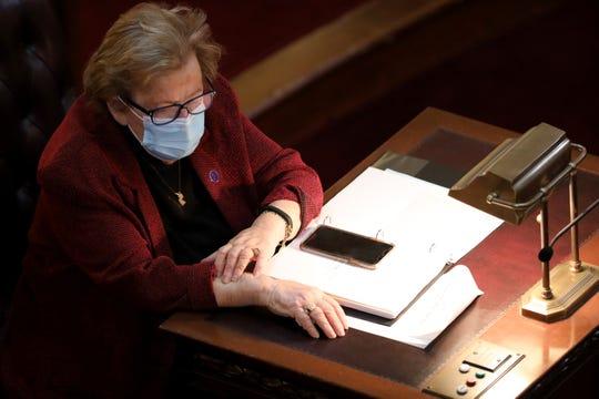 New Jersey State Loretta Weinberg is shown in Trenton, Monday January 11, 2021.