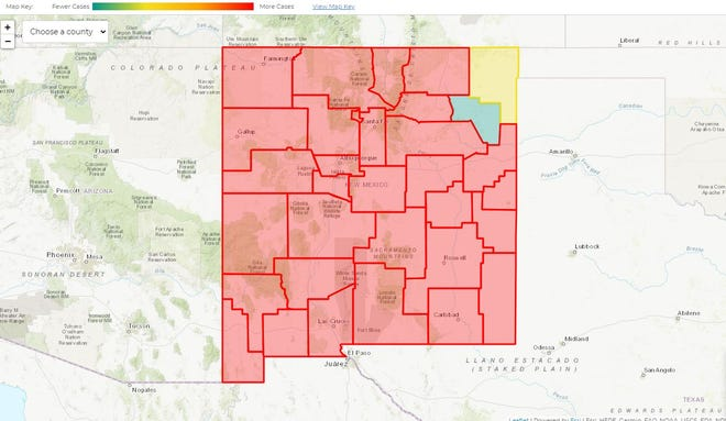 Union County (yellow) and Harding County (green) in the state's northwest corner are the only counties in the state not at high risk of COVID-19 spread, according to the New Mexico Department of Health's gating criteria. Map published Jan. 13, 2021.
