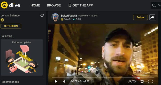 "Tim ""Baked Alaska"" Gionet livestreamed from Washington, D.C., on Jan. 5, 2021, the night before the U.S. Capitol riot."