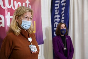 Salem Health President and CEO Cheryl Nester Wolfe speaks at the Salem Health and Marion County COVID-19 vaccination clinic in January.