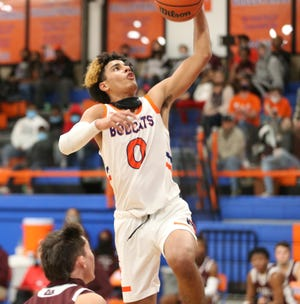 San Angelo Central's Branden Campbell goes up for a layup against Midland Lee in a home game on Friday, Jan. 8, 2021.