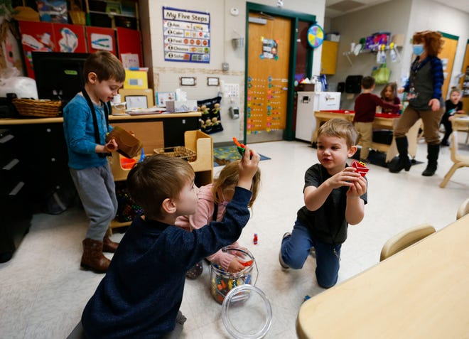 Children play in a preschool classroom at the Republic School District Early Childhood Center on Jan. 13, 2021. Parents and families in Missouri will soon begin receiving monthly child tax credit payments, expanded under the American Rescue Plan.