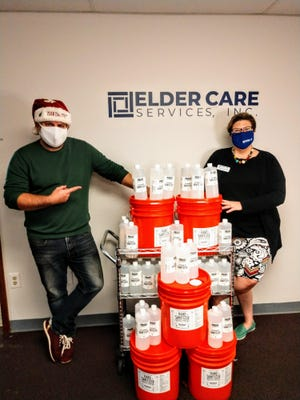 Elder Care received a big donation of hand sanitizer from TLH Beer Society, Proof and Ology.