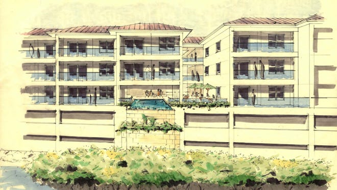 Site plans show a sketch of Sportfish Marina Resort, a proposed three-story hotel on top of two levels of parking, at 304 NW Flagler Ave. in downtown Stuart.