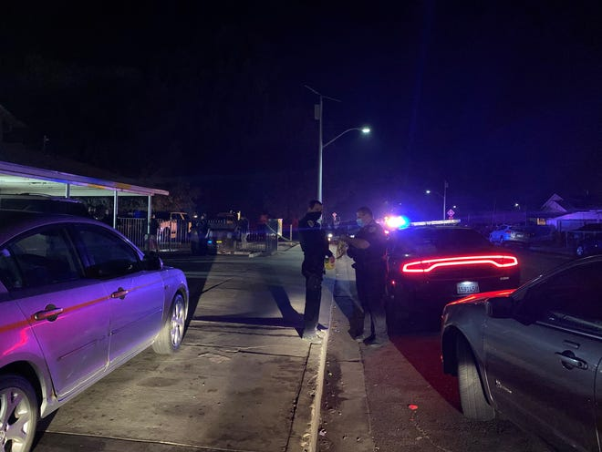 Two people were shot Tuesday night during an apparentdrive-by shooting near Visalia Emergency Aid Council.