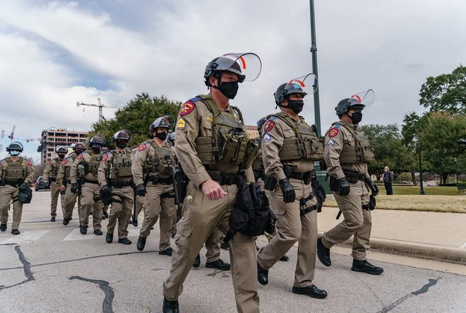 Security for the opening day of the Texas Legislature's session was been ramped up after violence in Washington D.C. last week. Jan. 12, 2021.