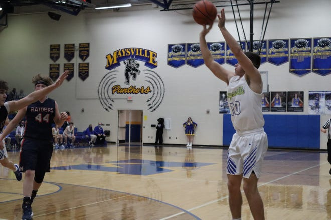 Maysville's Cade Searls takes a 3 in Tuesday's game against Morgan. The Panthers earned their first win of the season, beating the Raiders 59-44.