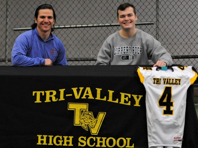 Tri-Valley graduate Morgan Williamson (right) will continue his football career as a kicker for Division II Slippery Rock University. Dr. Matt Amicone (left) helped get Williamson into placekicking and kicked for Tri-Valley and Ohio University.