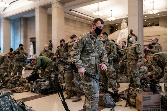 Hundreds of National Guard troops inside the Capitol Visitor's Center.