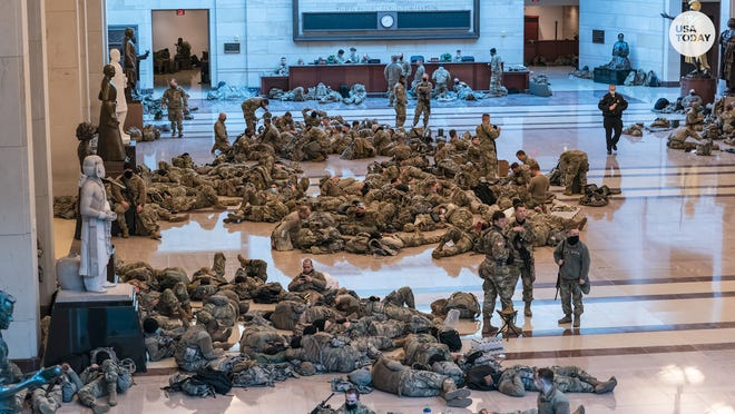 Hundreds of National Guard members were at the U.S. Capitol for security as the House prepared to vote on impeaching President Donald Trump.