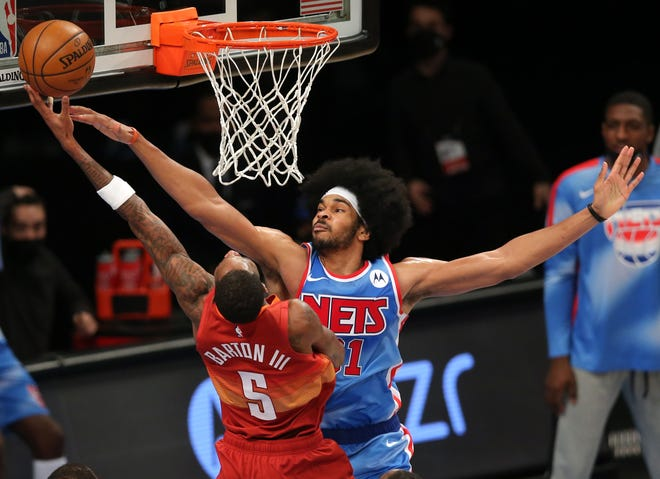The Cavaliers acquired Brooklyn Nets center Jarrett Allen in a blockbuster trade that send superstar James Harden from the Houston Rockets to the Nets. The Cavs also acquired forward Taurean Prince and gave up a a first-round pick acquired from the Milwaukee Bucks and a second-round pick. [USA TODAY Network]