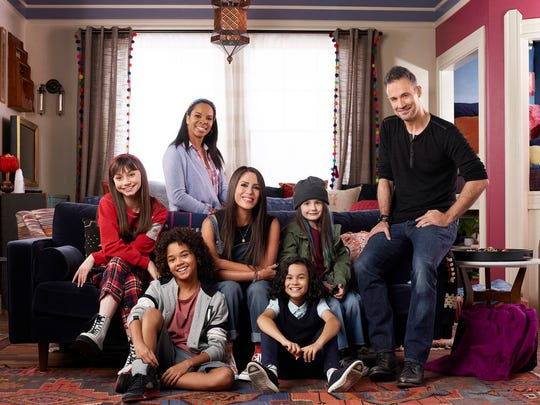 "The cast of the ""Punky Brewster"" revival (from left to right): Lauren Lindsey Donzis, Noah Cottrell, Cherie Johnson, Soleil Moon Frye, Oliver De Los Santos, Quinn Copeland and Freddie Prinze Jr."