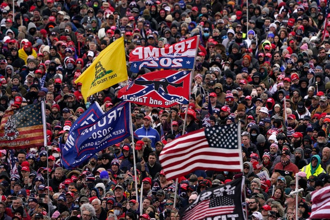 President Donald Trump speaks at the rally in Washington before inciting his supporters to storm the U.S. Capitol.