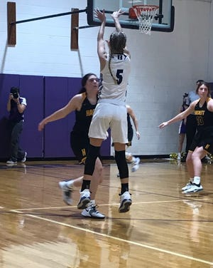 Leigh Swint (5) shoots a three-pointer against Hackett. The sophomore hit all five threes she attempted in that game on the way to a 17-point night as Booneville eased to a 67-30 win.