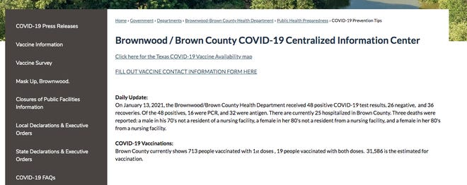 Brownwood/Crown County COVID-19 Centralized Information Center