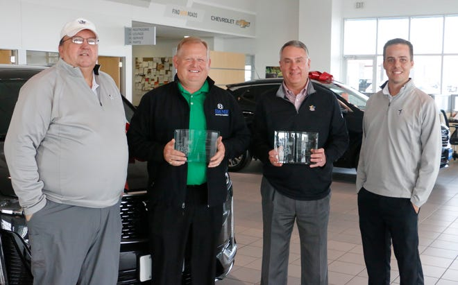 The Fellowship of Christian Athletes recently presented plaques of appreciation  to the Bruner GM dealerships in Early and Stephenville to acknowledge the dealerships' support of the FCA. Pictured at the Early dealership from left are Kurt Newton, FCA Brownwood area representative; Cory Howard, the Early dealership's general manager; Bruner Auto owner Greg Bruner; and Andy Penney, FCA area director.