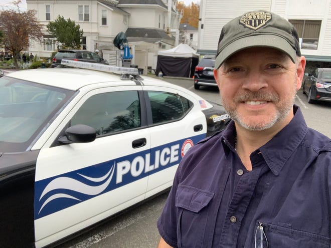 """James """"Jamie"""" Craig, a police sergeant in Edgartown, on the set of one of the """"Martha's Vineyard Mystery"""" TV movies based on detective novels written by his late father, island author Philip R. Craig."""