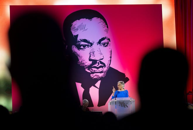 Rep. Joyce Beatty dedicates her keynote speech to her mother who passed away, at the 35th annual Dr. Martin Luther King, Jr. Birthday Breakfast on Jan. 20, 2020, at the Greater Columbus Convention Center. This year, MLK Day events have gone virtual because of the pandemic.