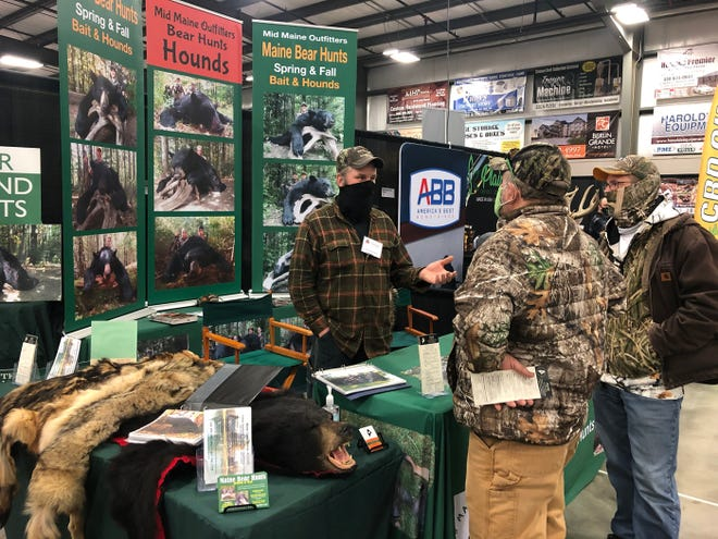 Master Maine guide Troy White tells Randy Lombardi and Eric Schwartz what his six-day bear hunting trip includes. White is an exhibitor at the Northeast Ohio Sportsman Show being held through Saturday in Mount Hope.