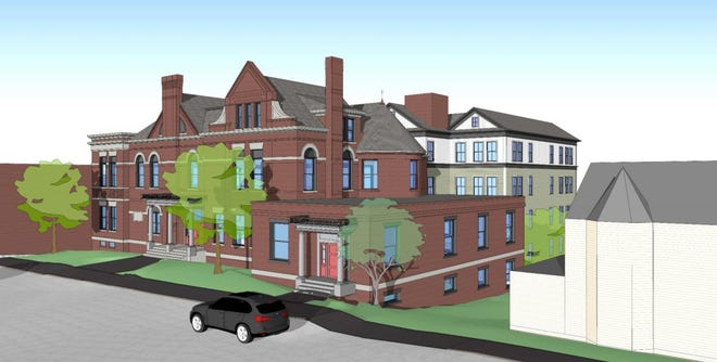 A preliminary design for developer Eric Chinburg's proposal to preserve, develop and expand the old Strafford County courthouse in downtown Dover.