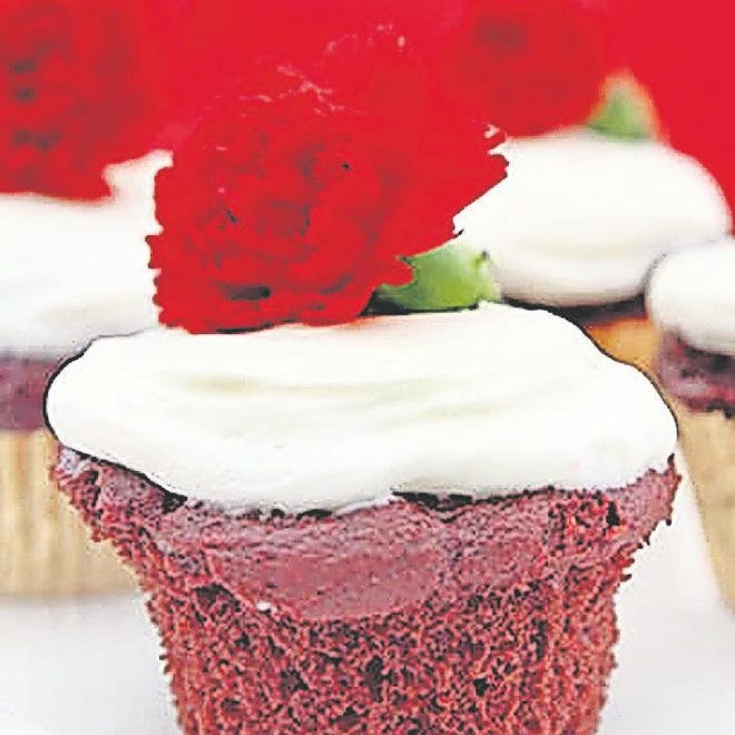 Light Red Velvet Cupcakes With Fluffy Cream Cheese.