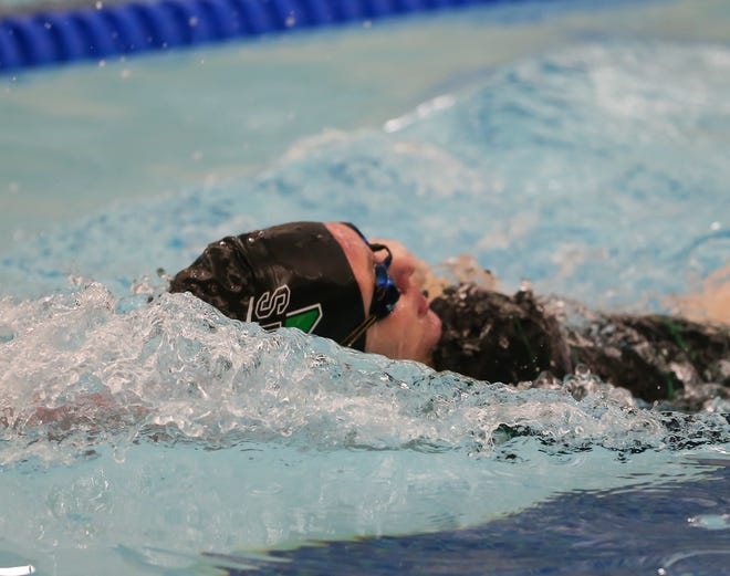 Nordonia's Reanna Turk swims the 100-yard backstroke during a meet against Stow-Munroe Falls ealier this season.
