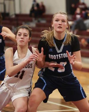 Woodridge senior Bella Owen and Rootstown sophomore Aubrey Kline battle for position under the basket during a game earlier this season