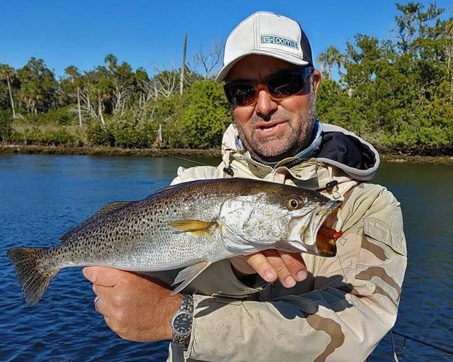 Capt. William Toney of Homosassa Inshore Fishing Charters caught this 24-inch spotted sea trout on a MirrOlure Lil John and D.O.A. jig head in Homosasa this week.