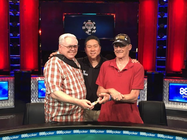 Kenny Tilden (left) pictured with Bernard Lee and Warren Griffith (right) at the World Series of Poker.