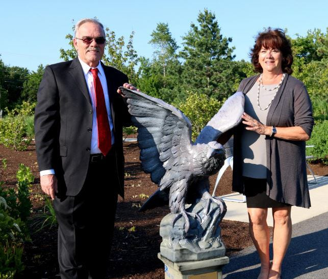 Dan and Renee Plummer, seen in 2016 with one of 45 eagle sculptures unveiled during a Veterans Count gala, received the Eileen D. Foley Award from Friends Forever for 2020 in early January 2021. The 2020 live event was not held due to the coronavirus.