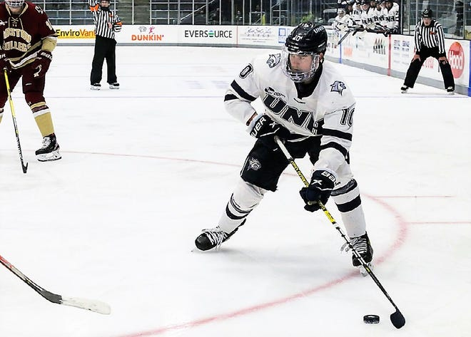 UNH sophomore defensemen Kalle Eriksson has three goals and four assists through nine games this season for the Wildcats. This week Eriksson was named Hockey East Co-Defensive Player of the Week.