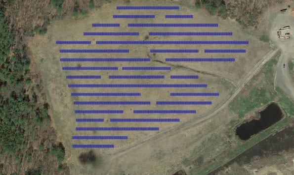 An engineer's rendering of potential solar array project at the closed landfill in Exeter.