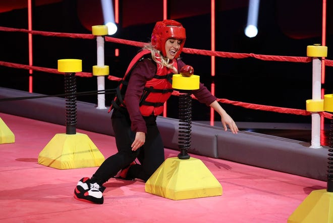 "Former Palm Beach Gardens resident Kayla Marzullo competes in the ""Dash Test Dummies"" competition during an episode of the NBC primetime show ""Ellen's Game of Games."""