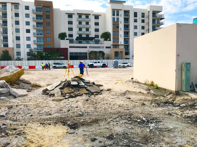The future site of Watermark West Palm Beach, a downtown senior housing complex.