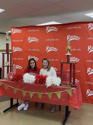 Kasandra Heredia of Pratt (left) signed a letter of intent to be a cheerleader at Coffeyville Community College in the fall of 2021.