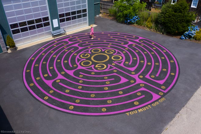 """Beckett's Maze: Go On,"" by Robin Crocker, an outdoor installation in the parking lot at the Jamestown Arts Center."