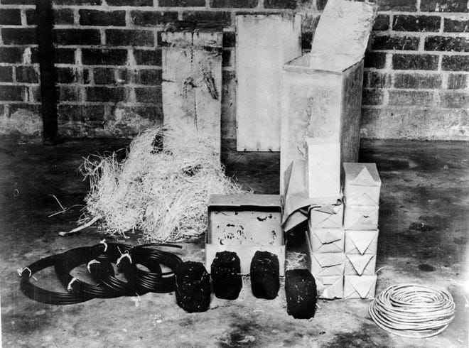 Part of the explosives cache uncovered in Ponte Vedra Beach in 1942 included timing devices, fuses, TNT and four bombs that resembled coal. Four German saboteurs landed at Ponce Vedra Beach as part of a plan with so much potential for harm within the United States.