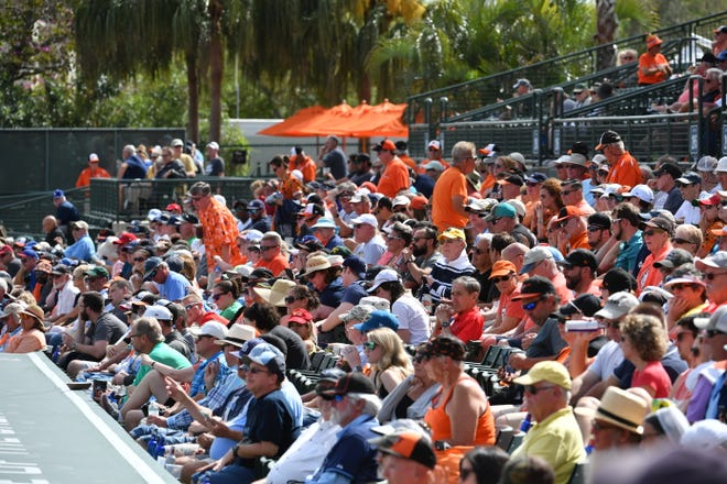Fans are packed in at Ed Smith Stadium stadium in Sarasota for a spring training game between the Baltimore Orioles and the Tampa Bay Rays on March 1, 2020. This year fans will be limited at spring training games because of concerns about COVID-19.