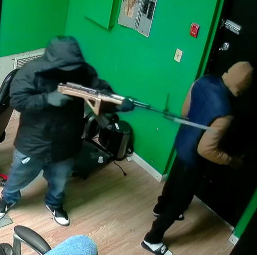 An image from security video of the fatal robbery of the Green Galaxy Smoke and Vape Shop, 3212 1st St. W., Bradenton, on Sept. 17, 2019.