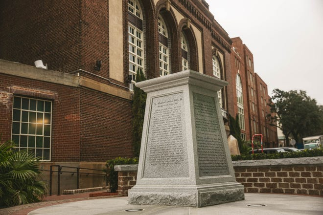 The pedestal for the Martin Luther King, Jr statute sits at the end of Martin Luther King, Jr Blvd. next to Plant Riverside.  (Richard Burkhart/Savannah Morning News)
